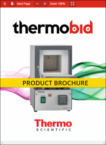 Thermo Scientific Thermolyne Benchtop 1100°C Muffle Furnace Product Brochure Product Brochure